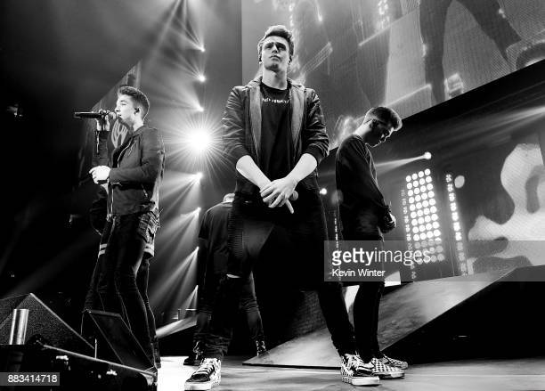 Daniel Seavey Jonah Marais and Zach Herron of Why Don't We perform onstage at WiLD 949's FM's Jingle Ball 2017 Presented by Capital One at SAP Center...