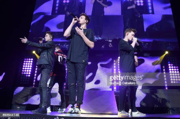 Daniel Seavey Jonah Marais and Zach Herron of Why Don't We perform onstage during 933 FLZ's Jingle Ball 2017 at Amalie Arena on December 16 2017 in...