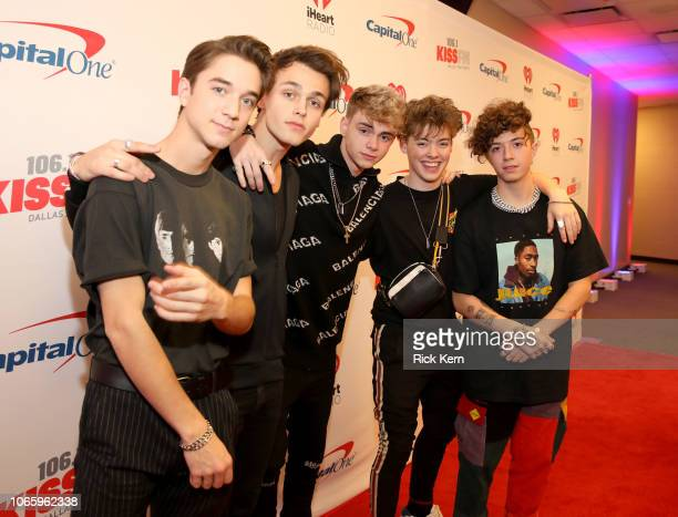 Daniel Seavey Jonah Marais Corbyn Besson Zach Herron and Jack Avery of Why Don't We attend 1061 KISS FM's Jingle Ball 2018 at American Airlines...