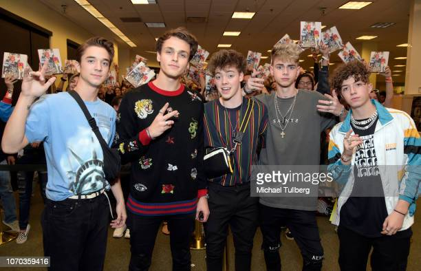 Daniel Seavey Jonah Marais Zach Herron Corbyn Besson and Jack Avery of Why Don't We attend a signing event for their book Why Don't We In the...