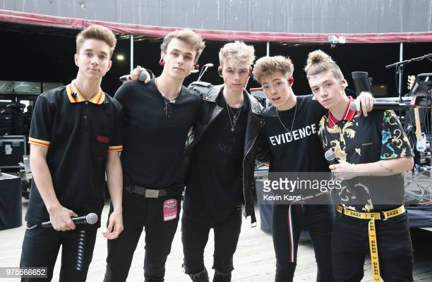Daniel Seavey Jonah Marias Corbyn Besson Zach Herron and Jack Avery of Why Don't We pose backstage during 2018 BLI Summer Jam at Northwell Health at...
