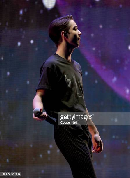 Daniel Seavey of Why Don't We performs onstage during 1061 KISS FM's Jingle Ball 2018 at American Airlines Center on November 27 2018 in Dallas Texas