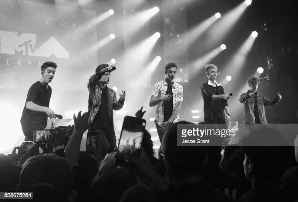 Daniel Seavey Zach Herron Jonah Marais Corbyn Besson and Jack Avery of Why Don't We perform onstage during MTV Presents 'VMA Weekend' at Avalon on...