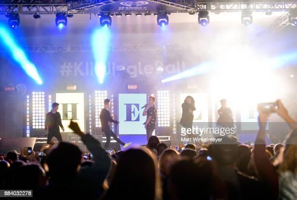 Daniel Seavey Zach Herron Jonah Marais Corbyn Besson and Jack Avery of Why Don't We perform onstage at 1027 KIIS FM's Jingle Ball Village at KIIS...