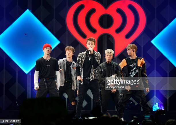 Daniel Seavey Zach Herron Jonah Marais Jack Avery and Corbyn Besson of Why Don't We perform onstage during 1061 KISS FM's Jingle Ball 2019 at Dickies...