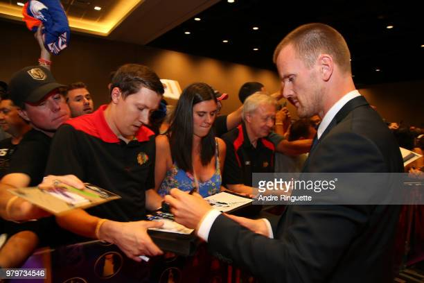 Daniel Sedin arrives at the 2018 NHL Awards presented by Hulu at the Hard Rock Hotel Casino on June 20 2018 in Las Vegas Nevada