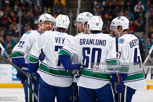 Daniel Sedin Linden Vey Ben Hutton Markus Granlund and Sven Baertschi of the Vancouver Canucks huddle up during the game against the San Jose Sharks...