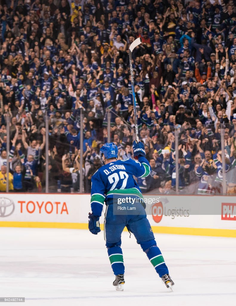 Daniel Sedin #22 of the Vancouver Canucks celebrates after scoring the game winning goal in overtime against the Arizona Coyotes in NHL action on April, 5, 2018 at Rogers Arena in Vancouver, British Columbia, Canada. The Canucks won 4-3.