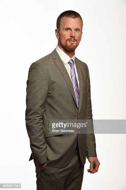 Daniel Sedin of the Vancouver Canucks poses for a portrait at the NHL Player Media Tour at the Ritz Carlton on September 8 2015 in Toronto Ontario