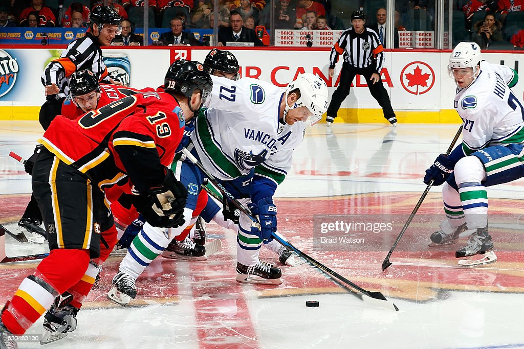 Daniel Sedin #22 of the Vancouver Canucks skates against Matthew Tkachuk #17 of the Calgary Flames during an NHL game on December 23, 2016 at the Scotiabank Saddledome in Calgary, Alberta, Canada.