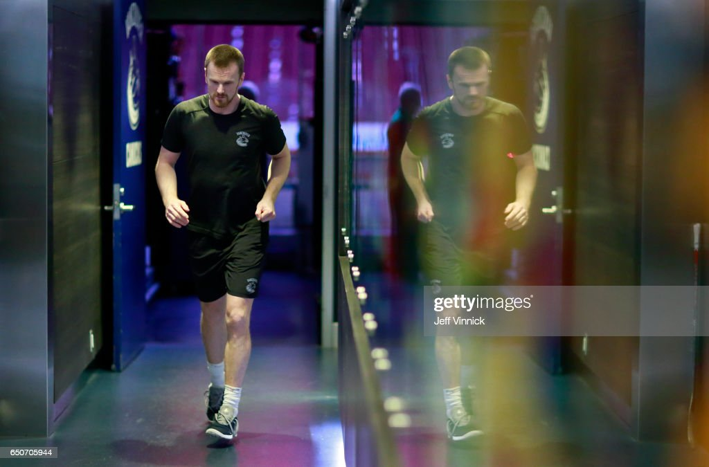 Daniel Sedin #22 of the Vancouver Canucks warms up before his NHL game against the New York Islanders at Rogers Arena March 9, 2017 in Vancouver, British Columbia, Canada.
