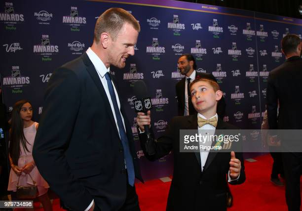 Daniel Sedin speaks with the NHL Kid Reporter as Sedin arrives at the 2018 NHL Awards presented by Hulu at the Hard Rock Hotel Casino on June 20 2018...