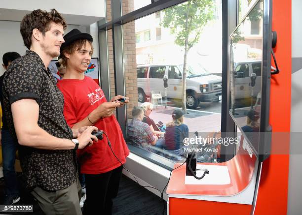 Daniel Sharman and Frank Dillane from the televison series 'Fear the Walking Dead' stopped by Nintendo at the TV Insider Lounge to check out Nintendo...