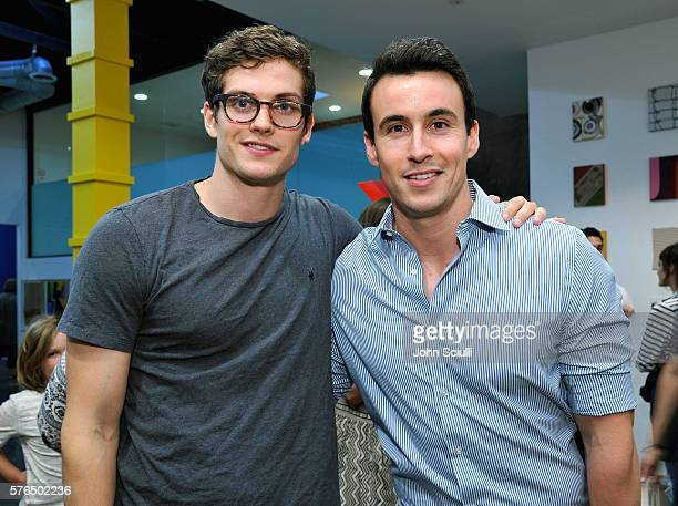 Daniel Sharman and Huw Collins attend Landon Ross ARTIfACT exhibition opening at LAXART on July 14 2016 in Los Angeles California