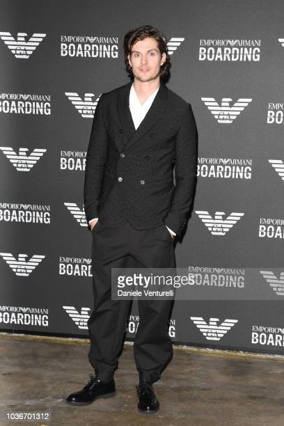 Daniel Sharman attends the Emporio Armani show during Milan Fashion Week Spring/Summer 2019 on September 20 2018 in Milan Italy