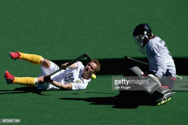 Daniel Sibbald of South Africa shoots during the 9th/10th place play off match between Japan and South Africa on Day 7 of the FIH Hockey World League...