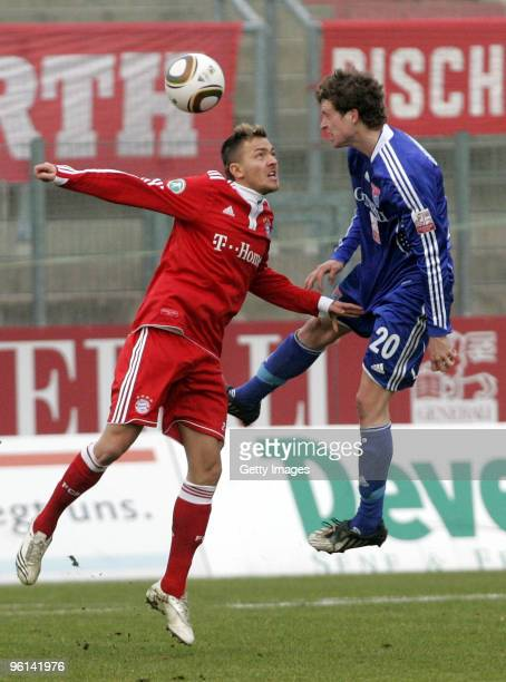 Daniel Sikorski of Bayern II and Patrick Ziegler of Unterhaching battle for the ball during the 3Liga match between SpVgg Unterhaching and Bayern...