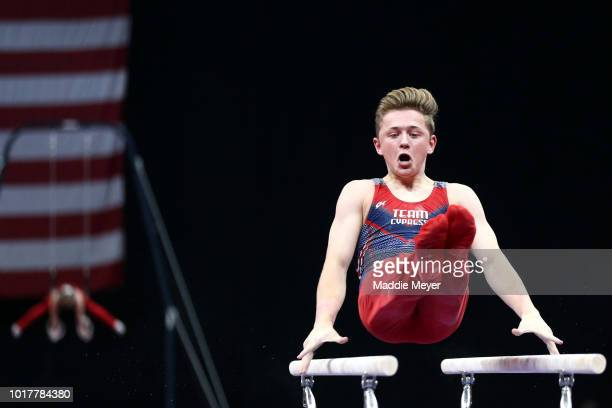 Paul Juda competes in Rings during Day 1 of the US Gymnastics Championships 2018 at TD Garden on August 16 2018 in Boston Massachusetts