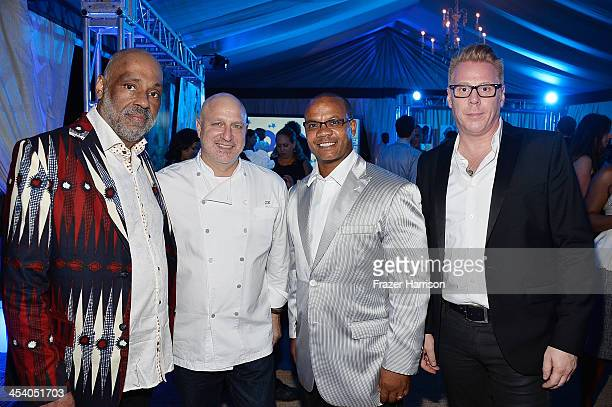 Daniel Simmons Jr chef Tom Colicchio Andre Guichard and VP Brand Managing Director of Bombay Peter Wijk attend the Bombay Sapphire artisan series...