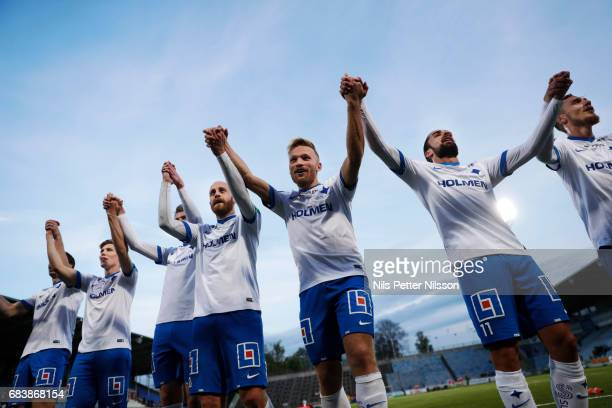 Daniel Sjolund Nicklas Barkroth and Christopher Telo of IFK Norrkoping celebrates after the victory during the Allsvenskan match between IFK...