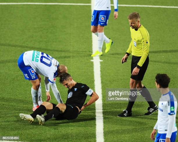 Daniel Sjolund of IFK Norrkoping and Markus Rosenberg of Malmo FF during the Allsvenskan match between IFK Norrkoping and Malmo FF at Ostgotaporten...