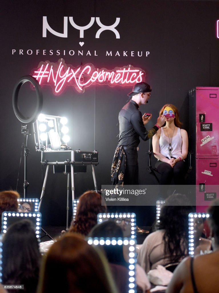Daniel Smith (L) and Ashley Wiley at the 2017 NYX Professional Makeup FACE Awards Expo at The Shrine Auditorium on August 19, 2017 in Los Angeles, California.
