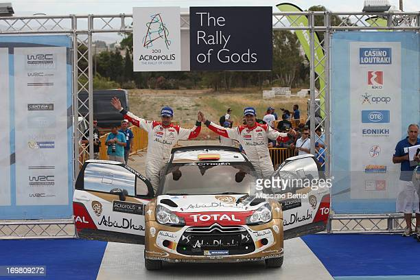 Daniel Sordo of Spain and Carlos Del Barrio of Spain celebrate their second position in the final podium during Day Two of the WRC Greece on June 02...