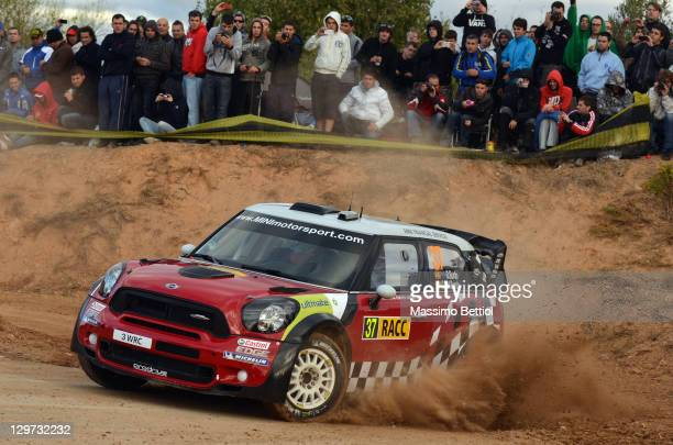 Daniel Sordo of Spain and Carlos Del Barrio of Spain compete in their Mini Wrc Team Mini John Cooper Works WRC during the Shakedown of the WRC Rally...