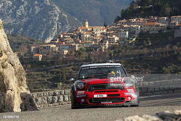 Daniel Sordo of Spain and Carlos Del Barrio of Spain compete in their Mini WRC Team Mini John Cooper works WRC during Day Five of the WRC Rallye...