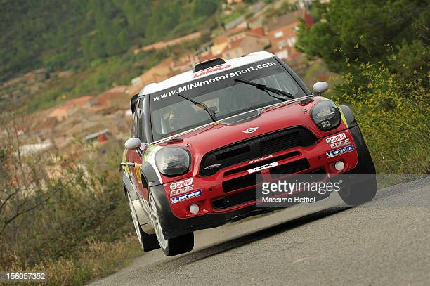 Daniel Sordo of Spain and Carlos Del Barrio of Spain compete in their Prodrive WRC Team Mini John Cooper Works WRC during Day Three of the WRC Spain...