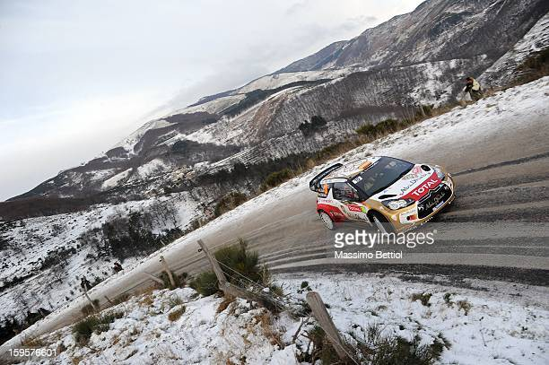 Daniel Sordo of Spain and Carlos Del Barrio of Spain compete in their Citroen Total Abu Dhabi WRT Citroen DS3 WRC during Day One of the WRC...