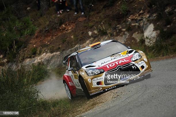 Daniel Sordo of Spain and Carlos Del Barrio of Spain compete in their Citroen Total Abu Dhabi WRT DS3 WRC during Day Two of the WRC Spain on October...