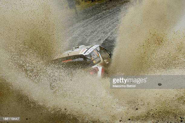 Daniel Sordo of Spain and Carlos Del Barrio of Spain compete in their Citroen Total Abu Dhabi WRT Citroen DS3 WRC during Day Two of the WRC Wales...