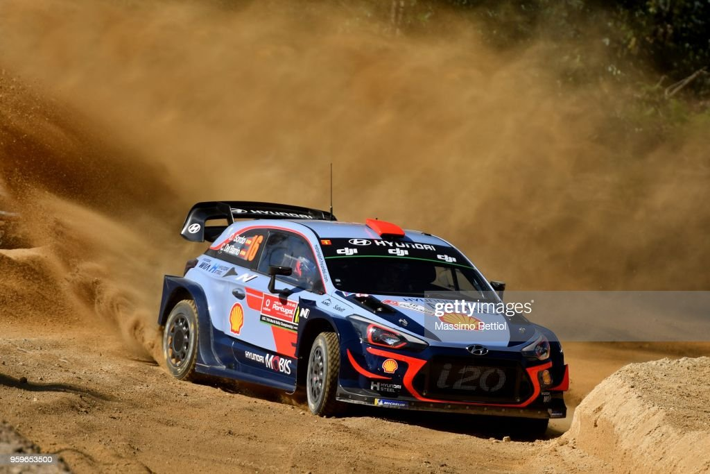 Daniel Sordo of Spain and Carlos Del Barrio of Spain compete in their Hyundai Shell Mobis WRT Hyundai i20 Coupe WRC during Day One of the WRC Portugal on May 17, 2018 in Faro, Portugal.