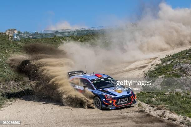 Daniel Sordo of Spain and Carlos Del Barrio of Spain compete in their Hyundai Shell Mobis WRT Hyundai i20 Coupe WRC during the SS10 Vieira do Minho...