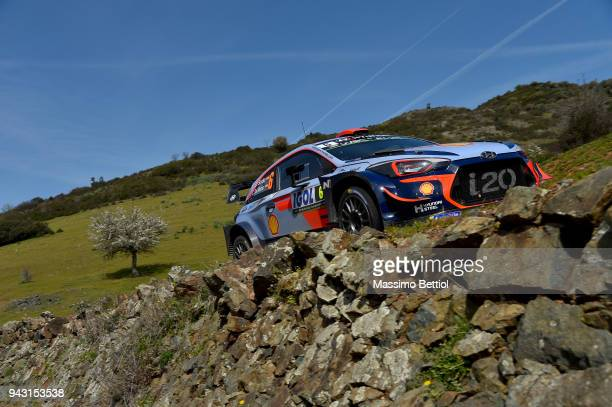 Daniel Sordo of Spain and Carlos Del Barrio of Spain compete with their Hyundai Shell Mobis WRT Hyundai i20 Coupe WRC during Day Two of the WRC...