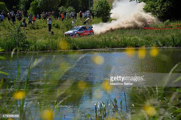Daniel Sordo of Spain and Marc Marti of Spain compete in their Hyundai Motorsport Hyundai i 20 WRC during Day One of the WRC Poland on July 3 2015 in...