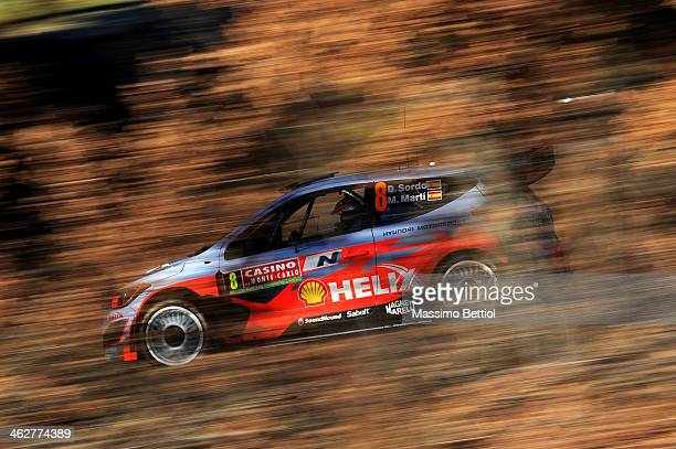 Daniel Sordo of Spain and Marc Marti of Spain compete in their Hyundai Motorsport Hyundai I20 WRC during the Shakedown of the WRC MonteCarlo on...