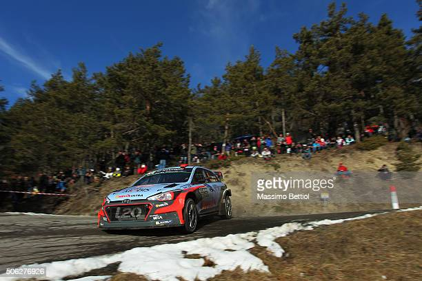 Daniel Sordo of Spain and Marc Marti of Spain compete in their Hyundai Motorsport Hyundai i20 WRC during Day Two of the WRC Monte Carlo on January 22...