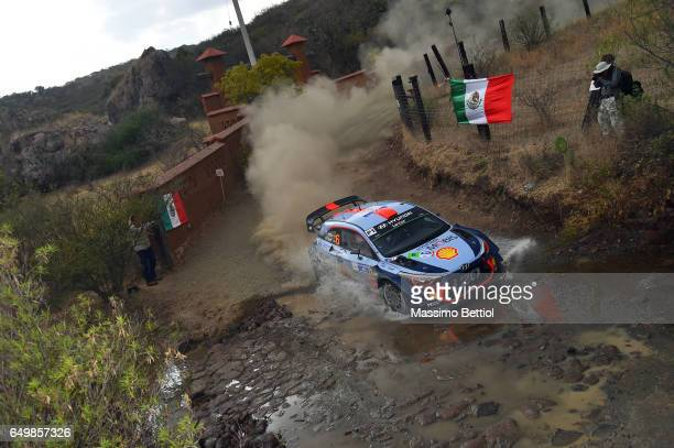 Daniel Sordo of Spain and Marc Marti of Spain compete in their Hyundai Motorsport Hyundai i20 Coupe WRC during the Shakedown of the WRC Mexico on...