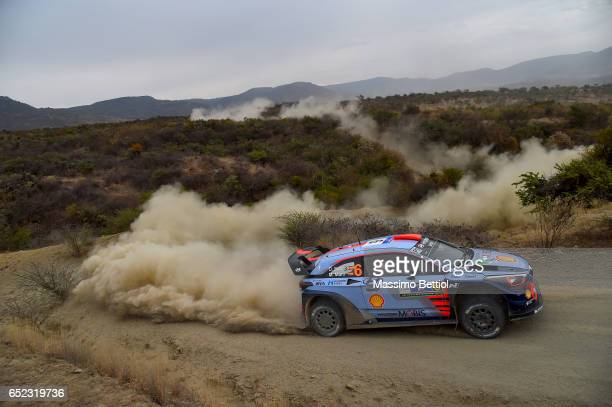 Daniel Sordo of Spain and Marc Marti of Spain compete in their Hyundai Motorsport Hyundai i20 Coupè WRC during Day Two of the WRC Mexico on March 11...