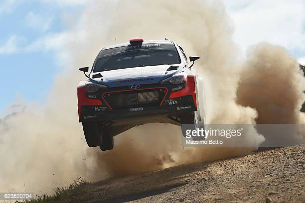 Daniel Sordo of Spain and Marc Marti of Spain compete in their Hyundai Motorsport N Hyundai i20 WRC during the Sakedown of the WRC Australia on...