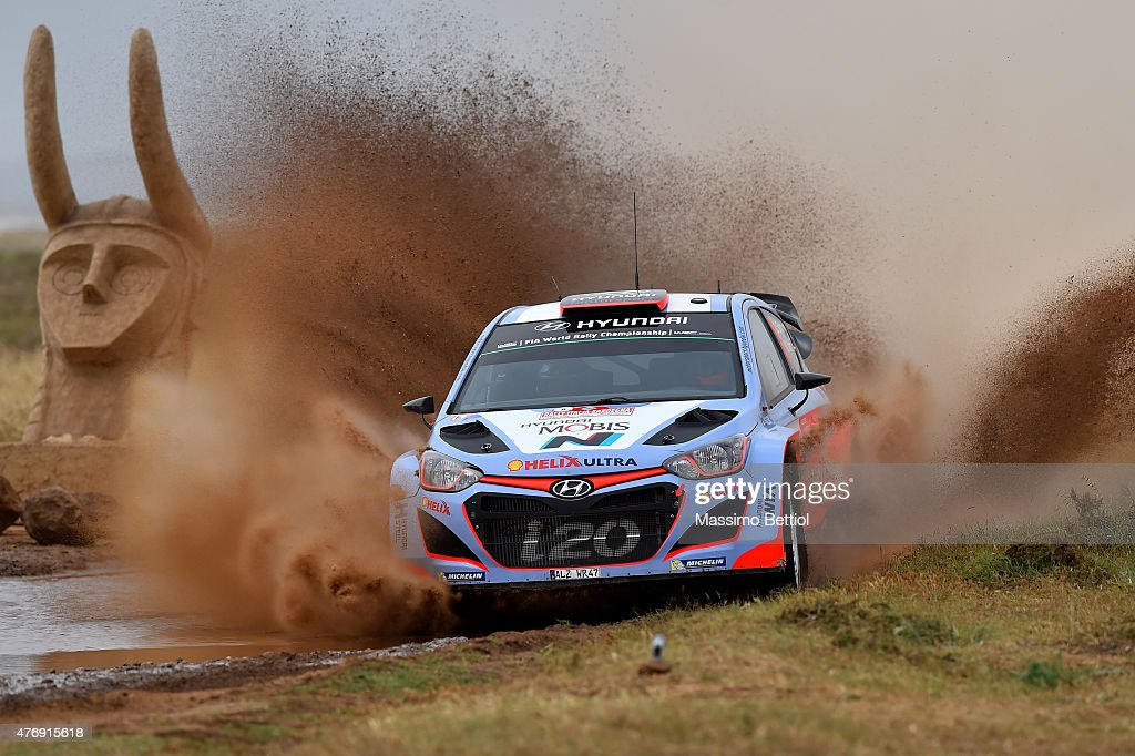 Daniel Sordo of Spain and Marc Marti of Spain compete in their Hyundai Motorsport Hyundai i20WRC during Day One of the WRC Italia Sardinia on June 12, 2015 in Alghero, Italy.