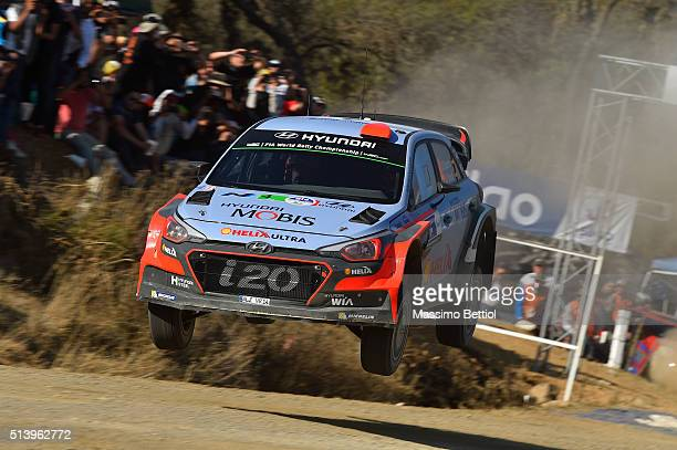 Daniel Sordo of Spain and Marc Marti of Spain compete in their Hyundai Motorsport WRT Hyundai i20 WRC during Day Two of the WRC Mexico on March 5...