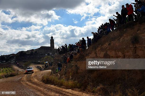 Daniel Sordo of Spain and Marc Marti of Spain compete in their Hyundai Motorsport WRT Hyundai i20 WRC during Day One of the WRC Spain on October 14...