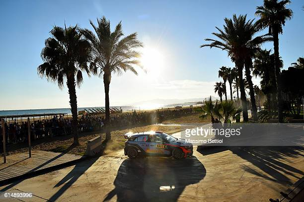 Daniel Sordo of Spain and Marc Marti of Spain compete in their Hyundai Motorsport WRT Hyundai i20 WRC during Day Two of the WRC Spain on October 15...