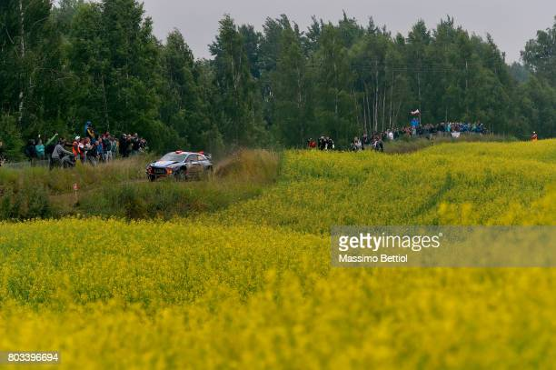Daniel Sordo of Spain and Marc Marti of Spain compete in their Hyundai Motorsport WRT Hyundai i20 WRC during the Shakedown of the WRC Poland on June...