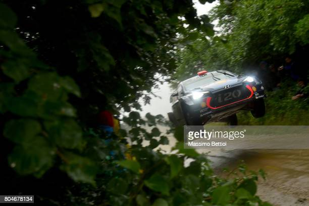 Daniel Sordo of Spain and Marc Marti of Spain compete in their Hyundai Motorport WRT Hyundai i20 WRC during Day One of the WRC Poland on June 30 2017...