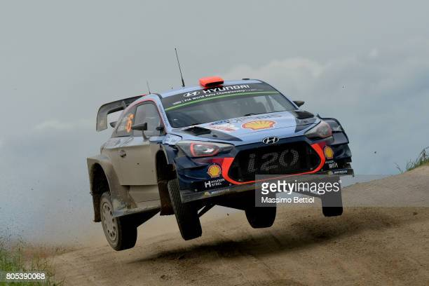 Daniel Sordo of Spain and Marc Marti of Spain compete in their Hyundai Motorsport WRT Hyundai i20 WRC during Day Two of the WRC Poland on July 1 2017...