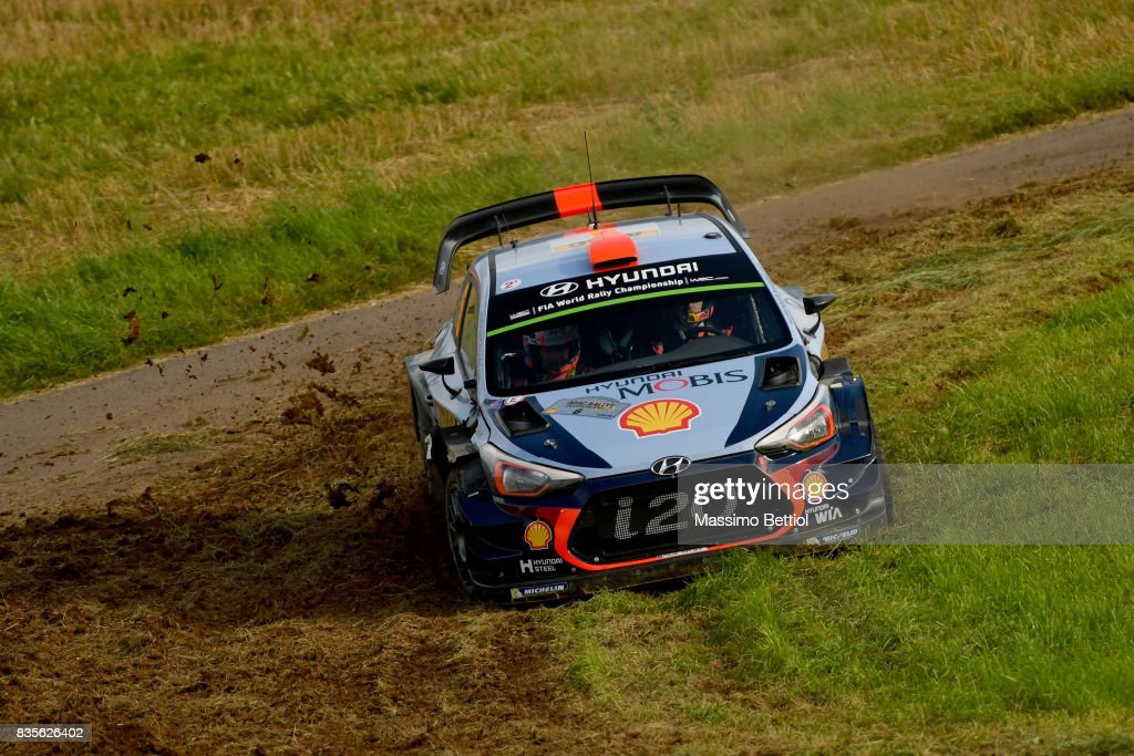 Daniel Sordo of Spain and Marc Marti of Spain compete in their Hyundai Motorsport WRT Hyundai i20 Coupè WRC during Day Two of the WRC Germany on August 19, 2017 in Trier, Germany.